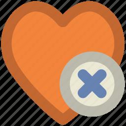 cancel, cross sign, dislike, heart, heart sign, remove like, unfavorite icon
