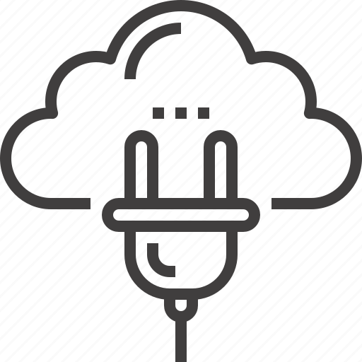 cloud, computing, connection, internet, network, plug, services icon