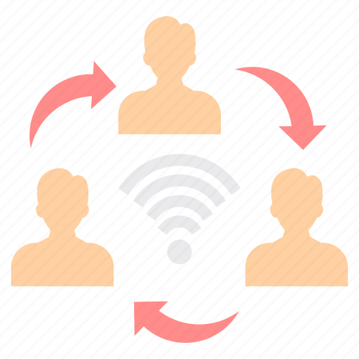 connection, cycle, friends, group, network, share, sharing icon