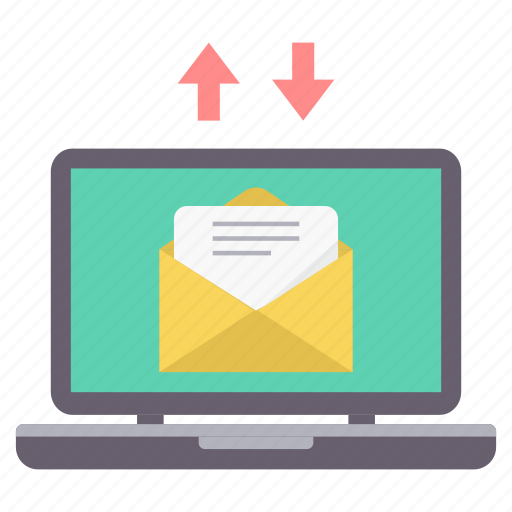 envelope, inbox, laptop, mail, message, receive, send icon