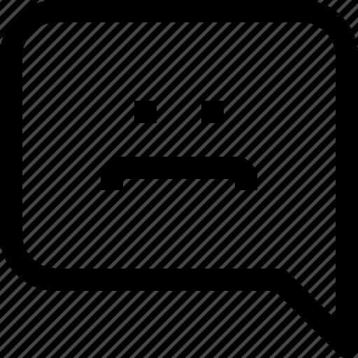 bubble, business, communication, message, sad, speech, talk icon