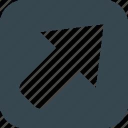 arrow, arrow diagonally, diagonally, direction, map, navigation, pointer icon