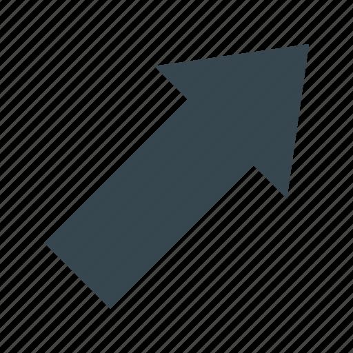arrow, arrow diagonally, diagonally, direction, pointer, right, up icon