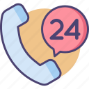 24 hours, 24 hours support, 24h, support icon