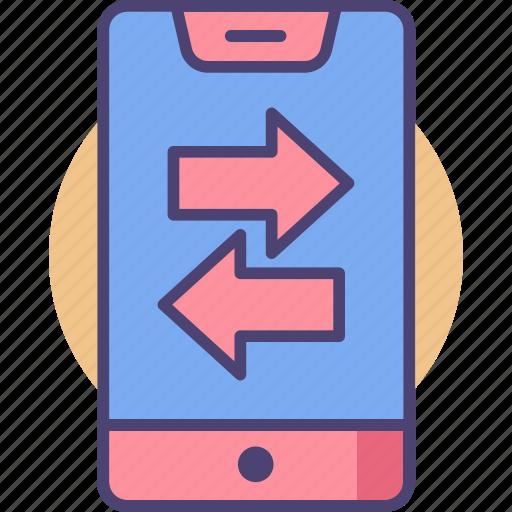 data, data exchange, data transfer, transfer icon