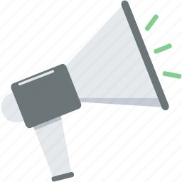 announcement, broadcast, bullhorn, loud, megaphone, speaker icon