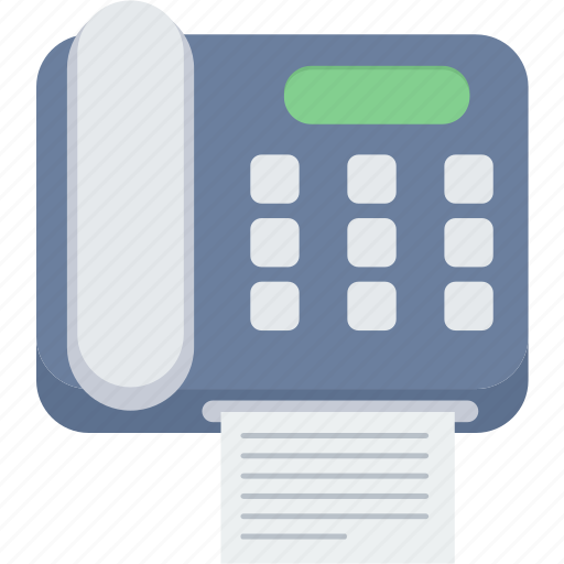 facsimile, fax, machine, paper, phone, telephone icon