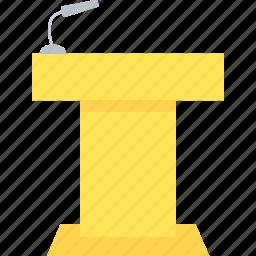 auditorium, dias, lecture, podium, speech icon