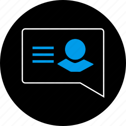 chat, communication, list, message, notification, text, user icon