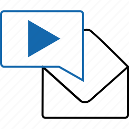 email, envelope, media, message, notification, play, text icon