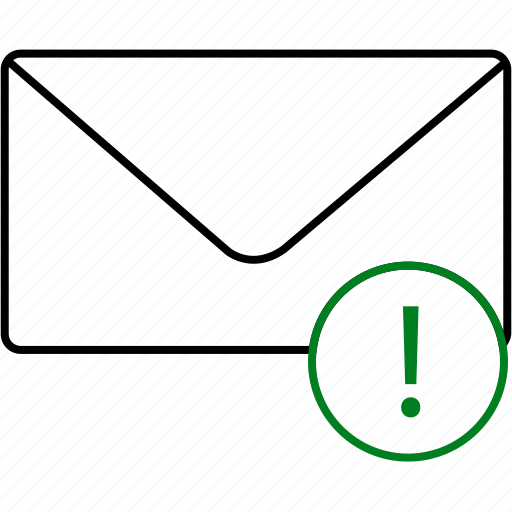 chat, communication, envelope, exclamation, message, notification, text icon