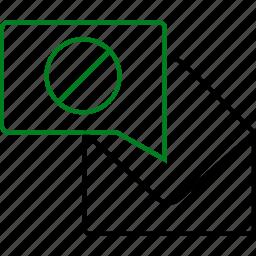 chat, communication, envelope, message, negative, notification, text icon