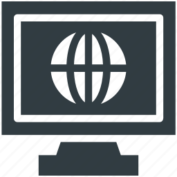 globe, internet connection, lcd, monitor icon