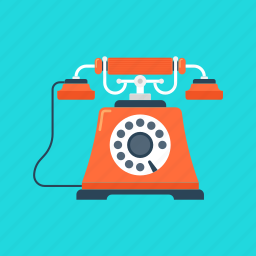 call, communication, contact, phone, retro, telephone, vintage icon