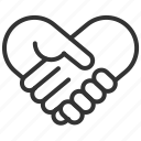 communication, connection, heart, internet, love, network, shakehand icon
