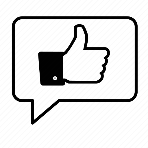 bubble, communicate, facebook, like, social media, speech, thumbs up icon