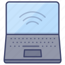 workplace, laptop, computer, device icon