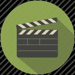 camera, cinema, clapper, long shadow, movie icon