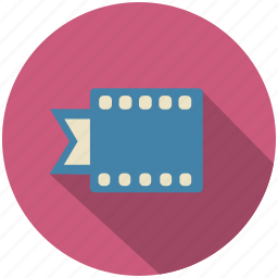 camera, cinema, film, long shadow, movie, strip icon