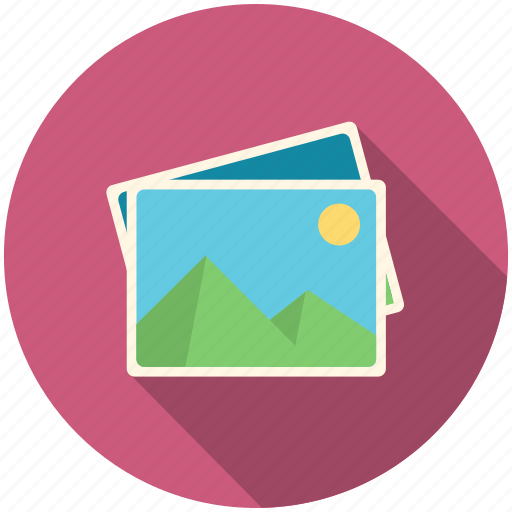 frame, long shadow, photo, picture icon