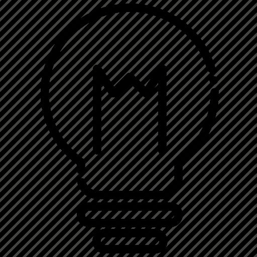brilliant, brokenline, idea, illuminate, illumination, light bulb icon
