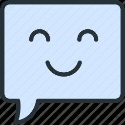 bubble, communications, smile, speech icon