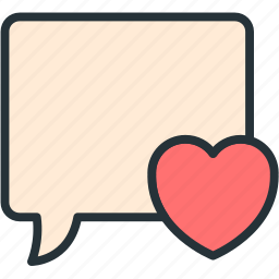 bubble, communications, heart, speech icon
