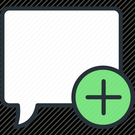bubble, communications, plus, speech icon