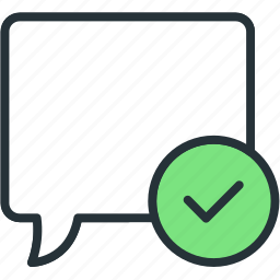 approve, bubble, check, communications, speech icon