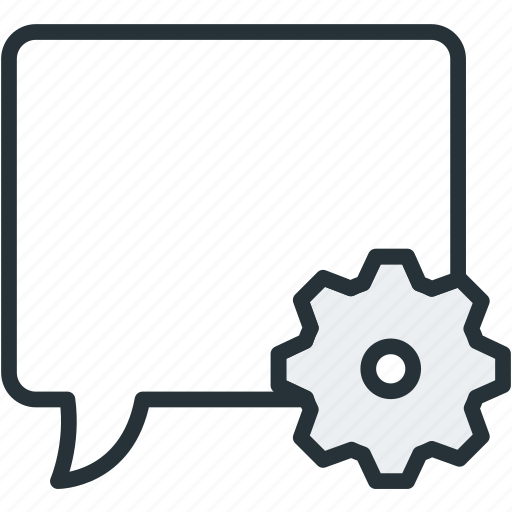 bubble, communications, settings, speech icon