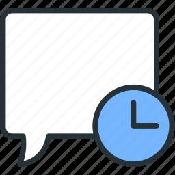 bubble, communications, conversation, speech, timer icon