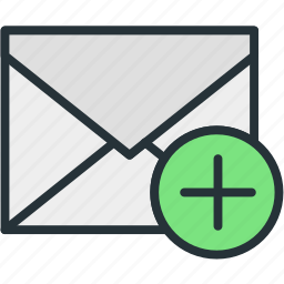 add, attachment, communications, envelope, mail icon