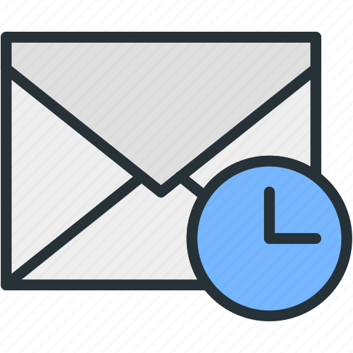 communications, envelope, mail, time, waiting icon