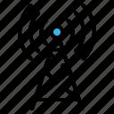 antenna, communications, internet, radio antenna, signal, tower icon