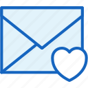 communications, envelope, favorite, heart, like, mail icon