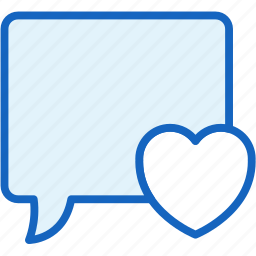 bubble, communications, heart, speech icon