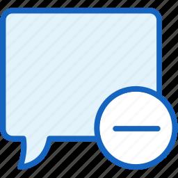 bubble, communications, minus, speech icon