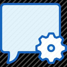 bubble, communications, settings, speech icon