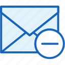 communications, envelope, mail, minus, remove icon