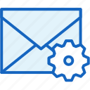 communications, envelope, gear, mail, settings icon
