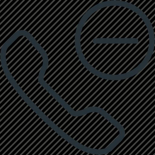 call, communications, minus, remove icon