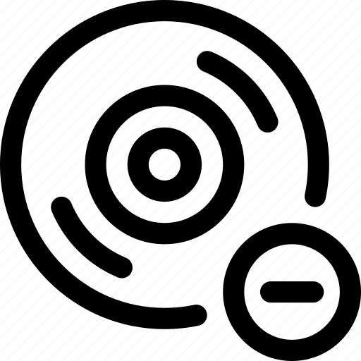 audio, cd, delete, disc, minus, music, record icon