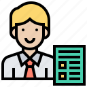businessman, employee, management, report, supervisor icon