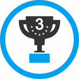 3rd place, award, badge, bronze cup, reward, third prize, trophy icon
