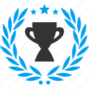 achievement award, competition win, first place, gold cup, prize trophy, star leader, winner badge icon