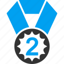 2nd place, badge, favorite, medal, rating, silver award, trophy icon