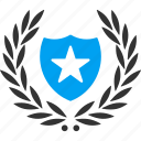 badge, glory, premium, protection, security, star shield, winner award icon