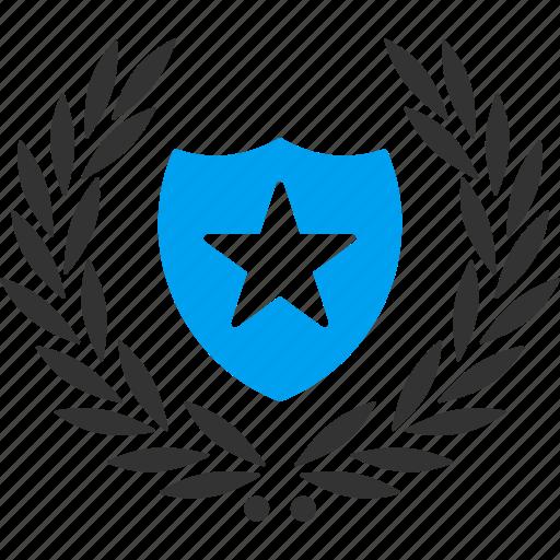 badge, glory, premium, protection, security, star shield, winner award icon