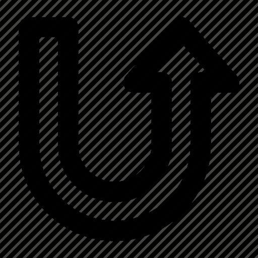 arrow, direction, u-turn, up, uturn icon
