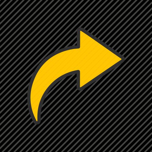 arrow, arrow right, cursor, send icon